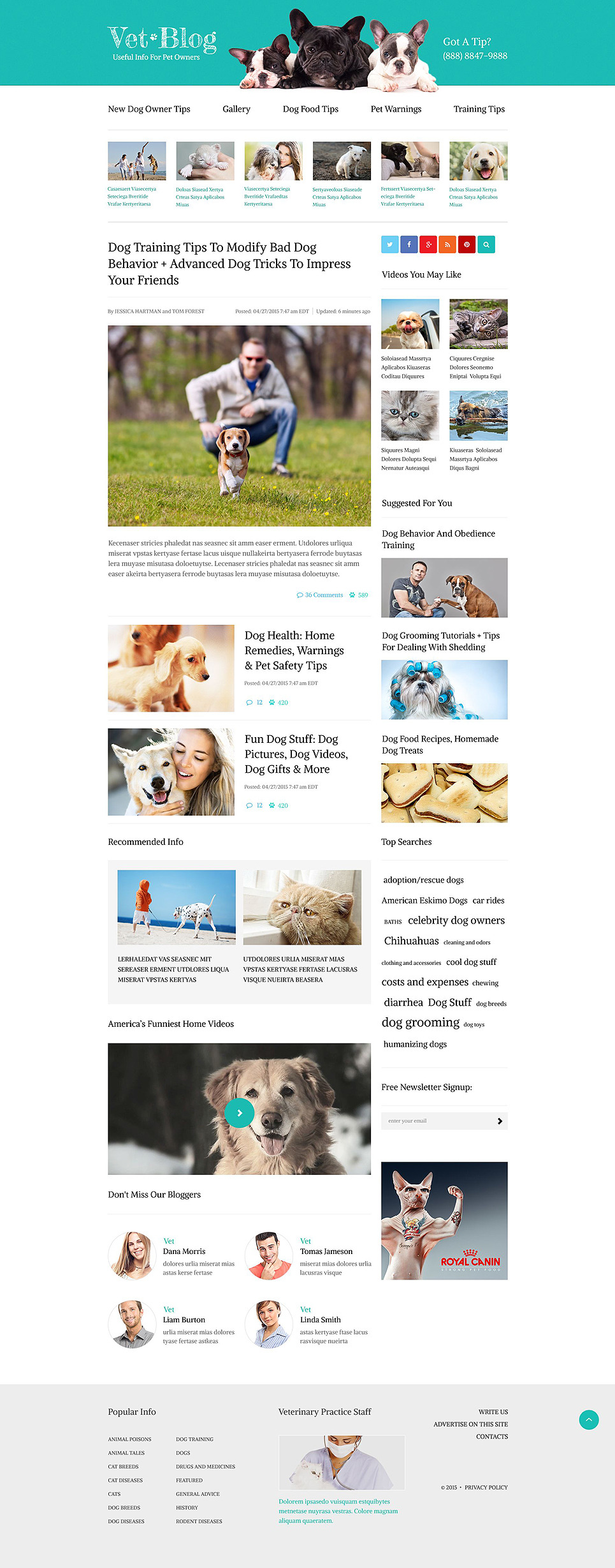 Veterinarian Blog Website Template New Screenshots BIG