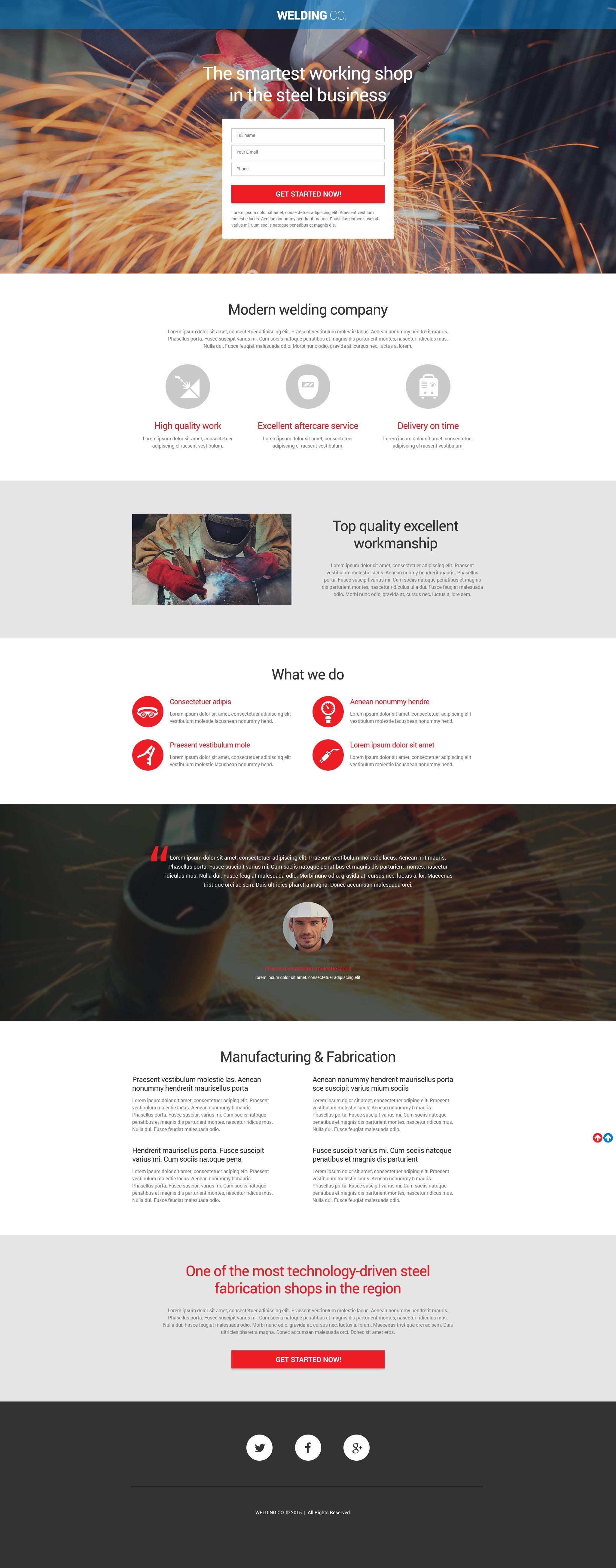 Welding Responsive Landing Page Template - screenshot