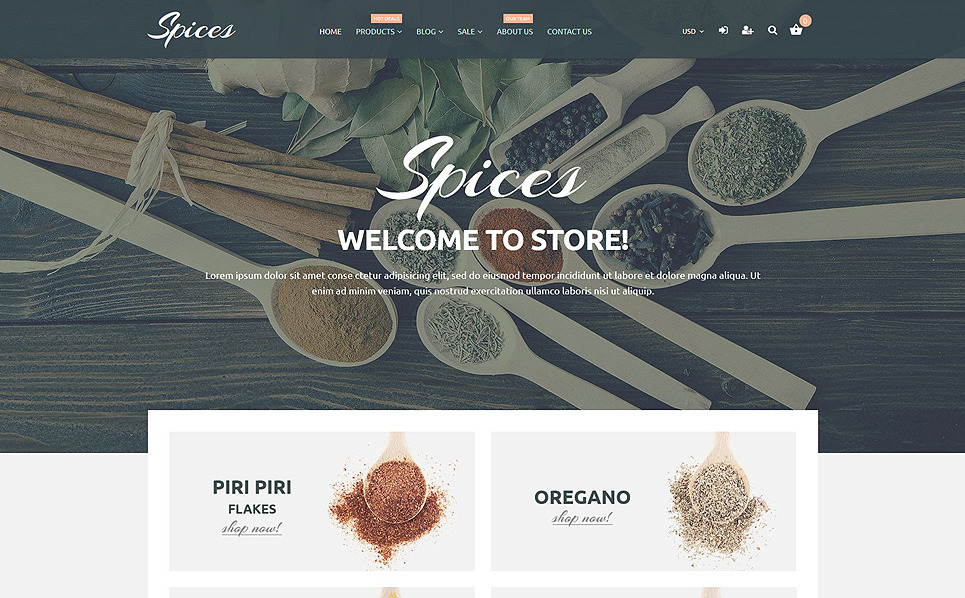 Reszponzív Fűszerboltok Shopify sablon New Screenshots BIG