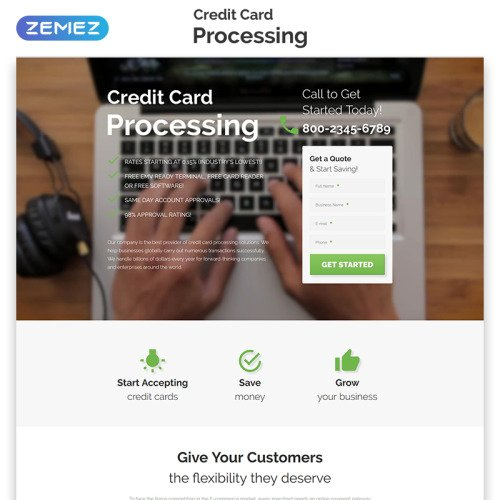 Credit Card Processing - Bank Responsive Landing Page Template