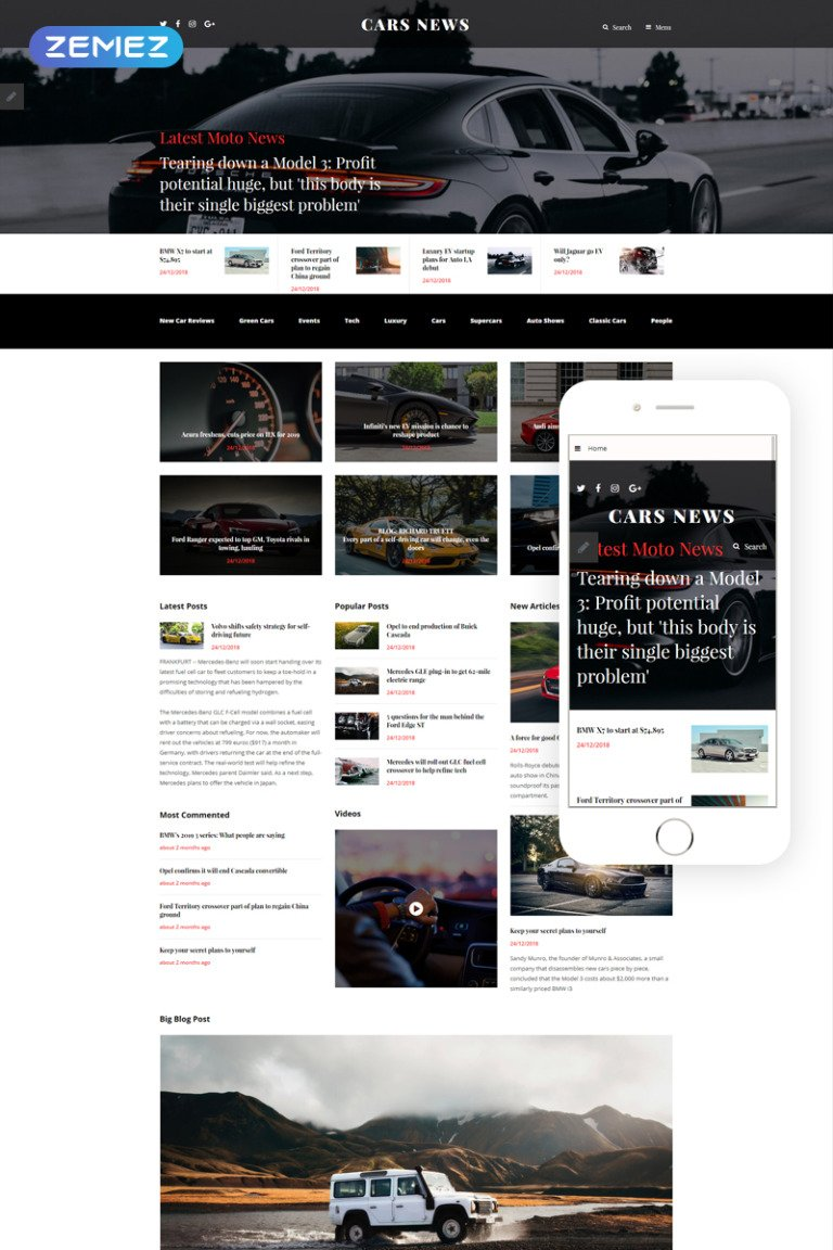 Cars News Joomla Template New Screenshots BIG