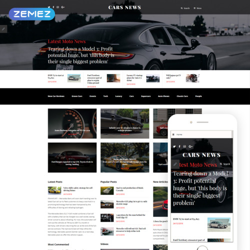 Cars News - Joomla! Template based on Bootstrap