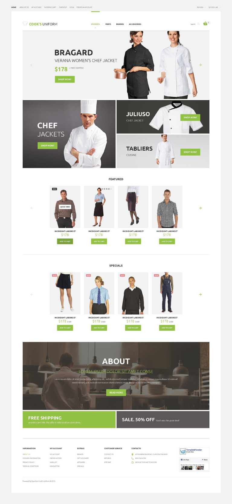 Cook's Uniform OpenCart Template New Screenshots BIG