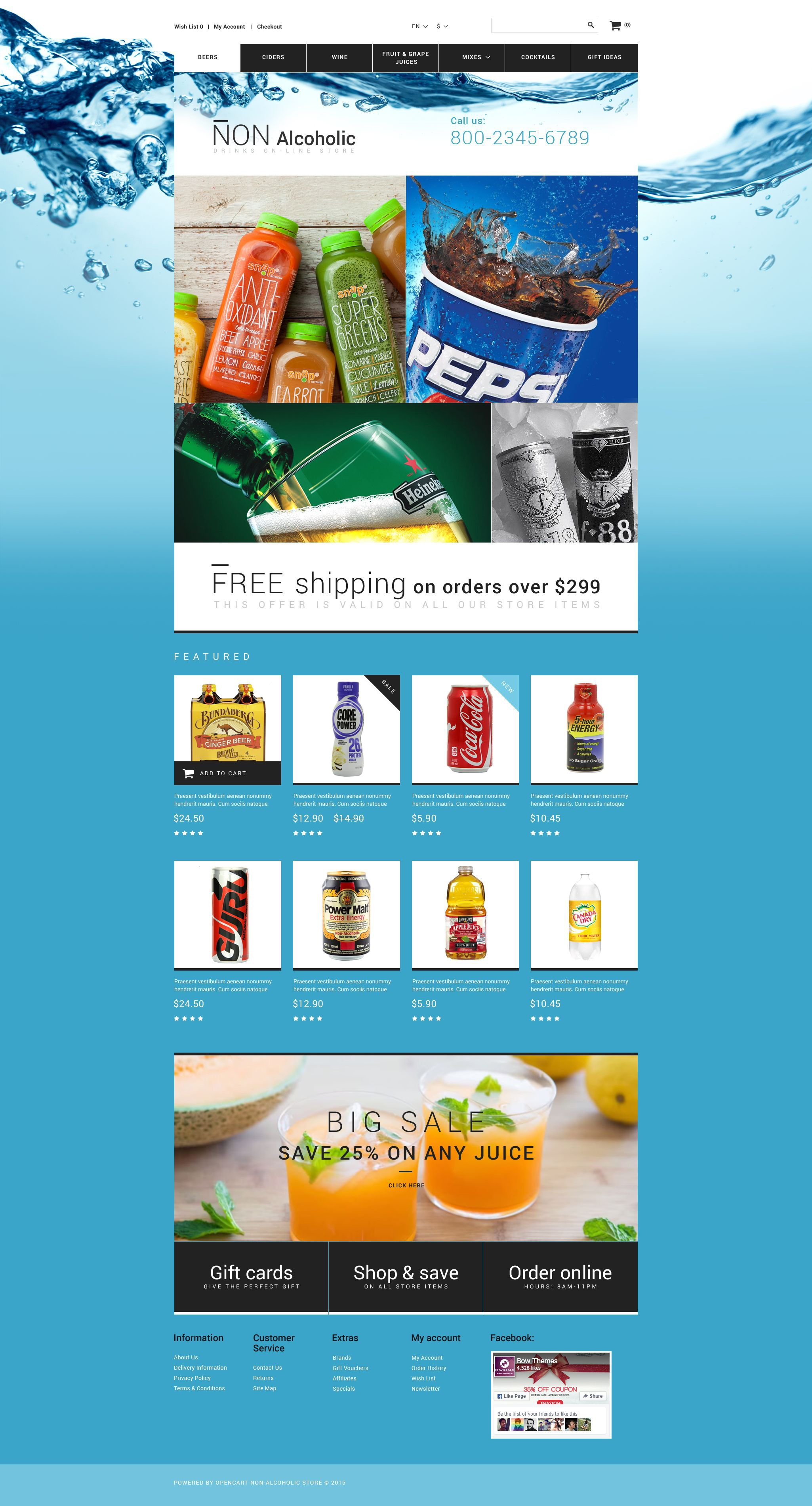 """""""Drink Store"""" Responsive OpenCart Template №55261"""
