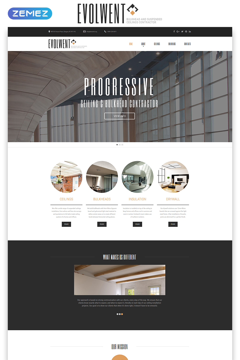 """Evolwent - Interior Design Responsive Modern HTML"" 响应式网页模板 #55224"