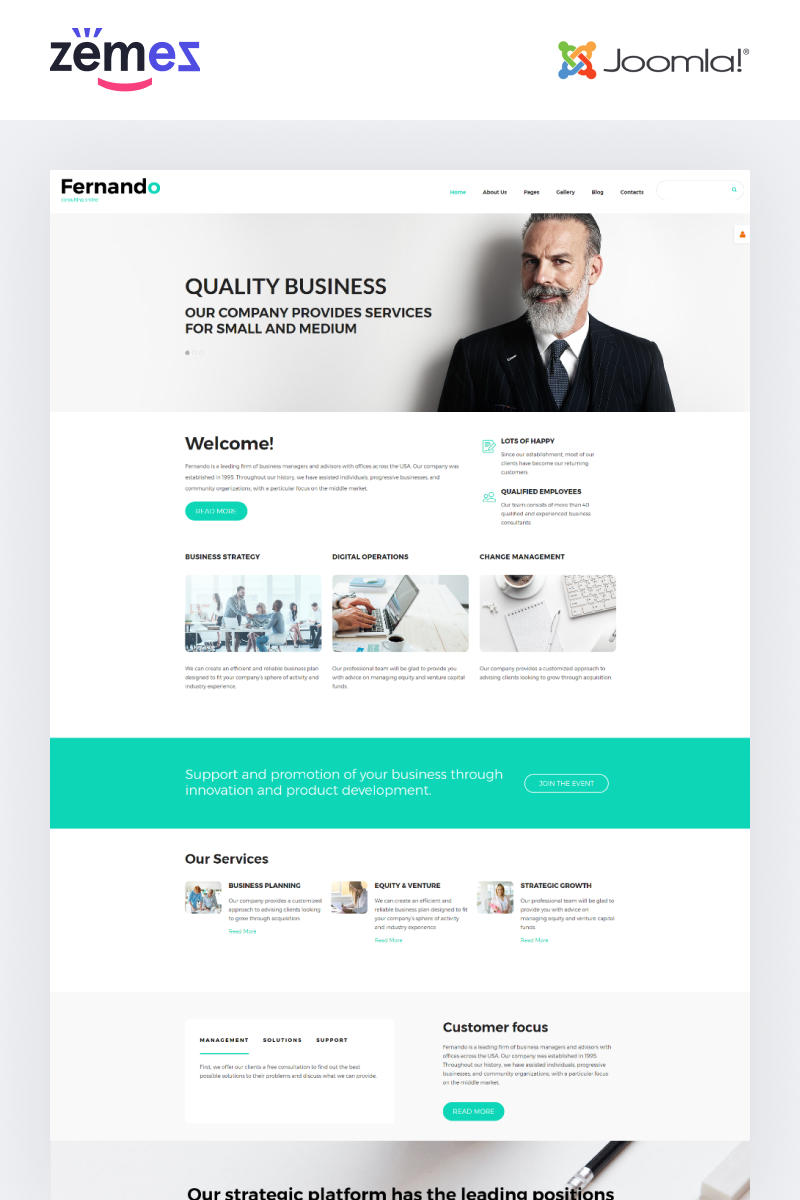"""""""Fernando - Consulting Ready-to-Use Modern"""" Responsive Joomla Template №55249"""