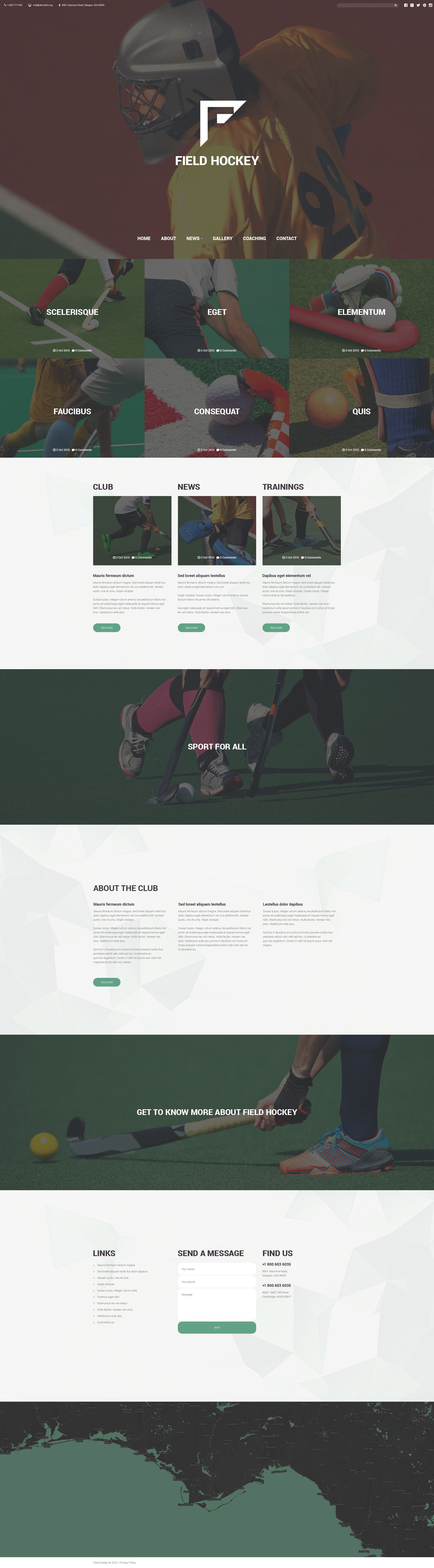 Field Hockey Club Website Template