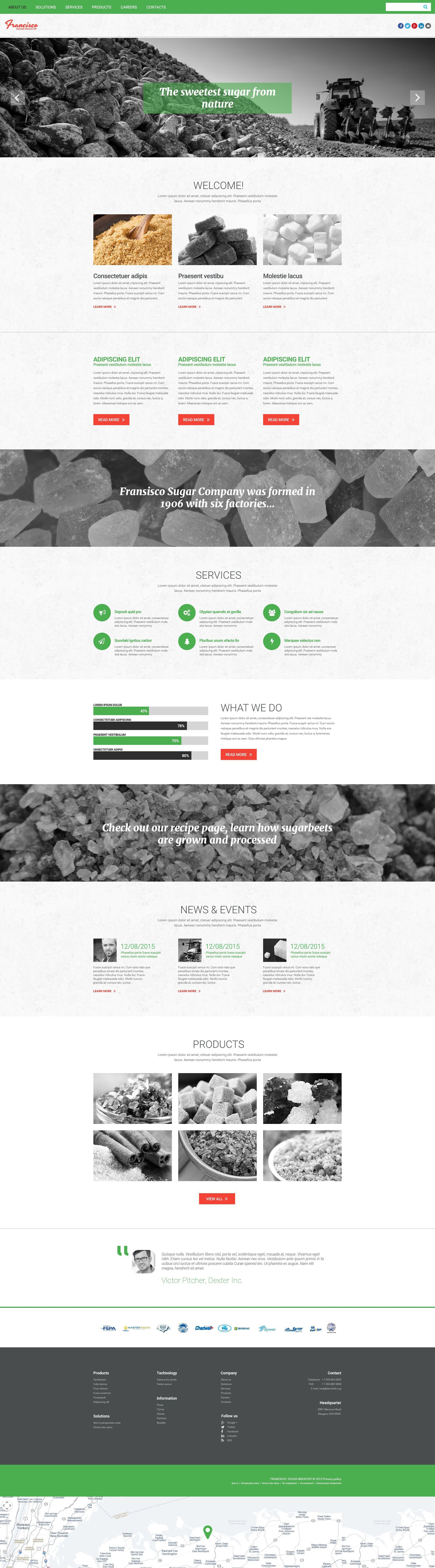 """Francisco Sugar Industry"" Responsive Website template №55240 - screenshot"