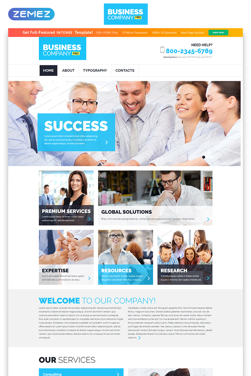 """Free Business Responsive Template"" Responsive Website template №55227"