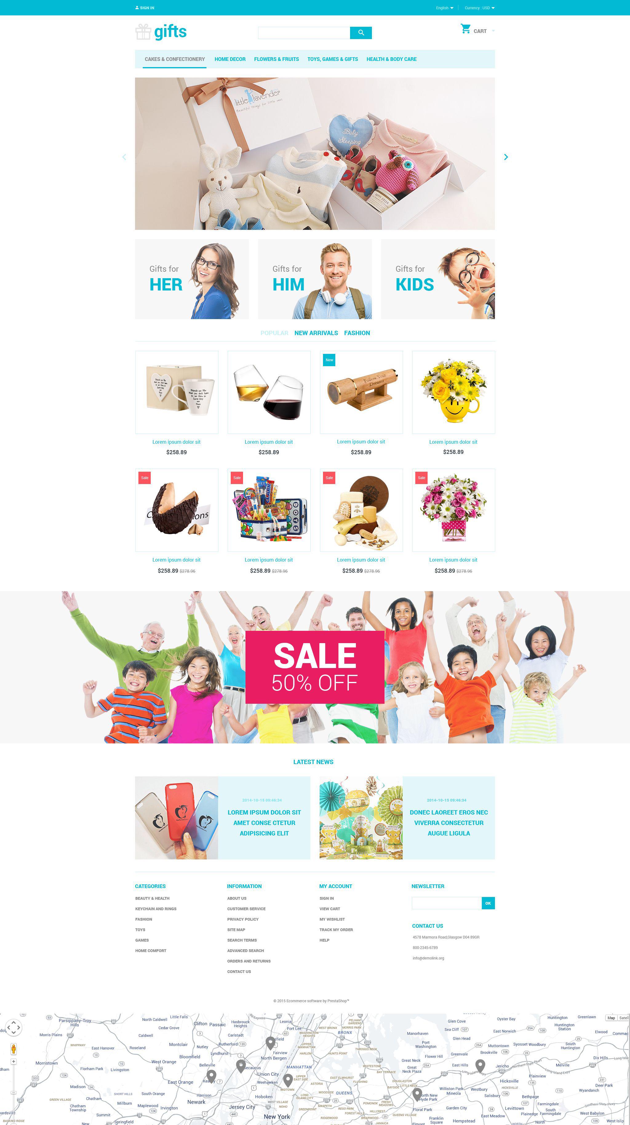"""Gifts"" - адаптивний PrestaShop шаблон №55209 - скріншот"
