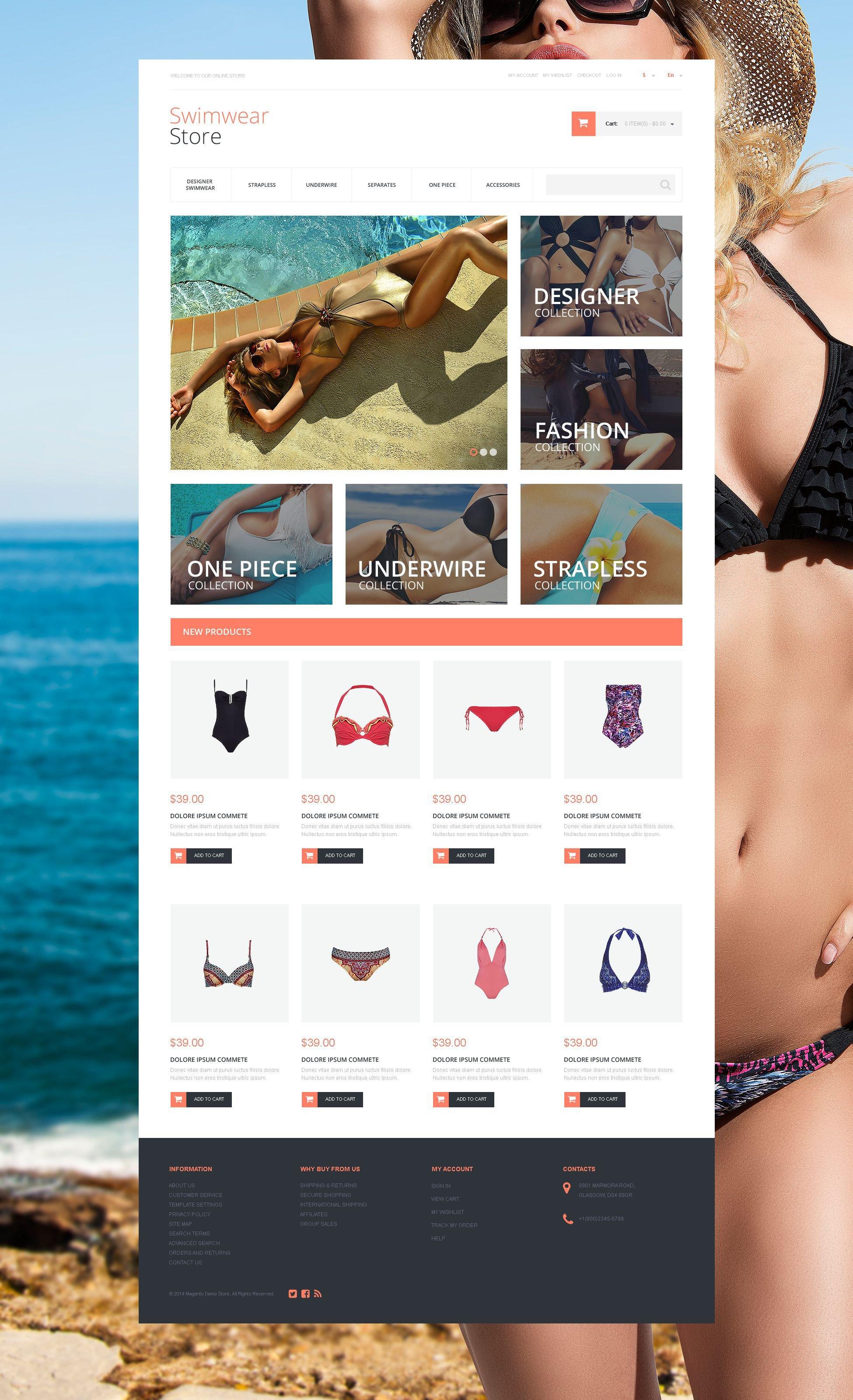 """Gorgeous Swimwear"" Responsive Magento Thema №55259"