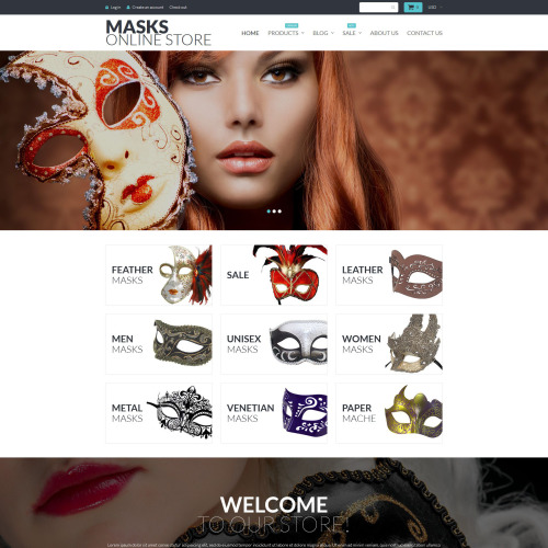 Masks Online Store - Shopify Template based on Bootstrap