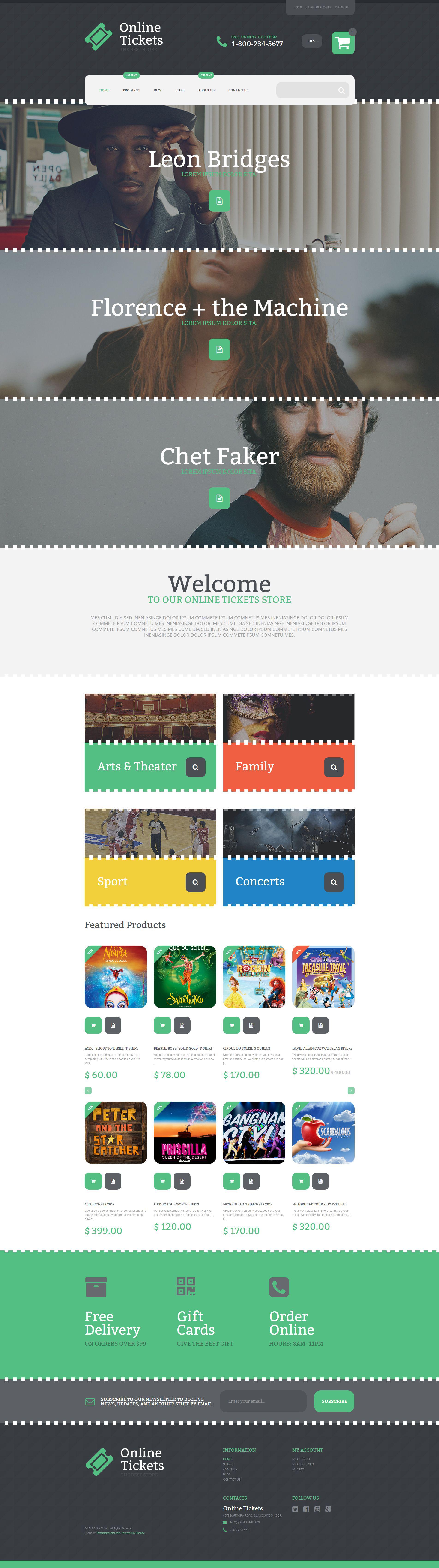 """Online Tickets"" - адаптивний Shopify шаблон №55234"