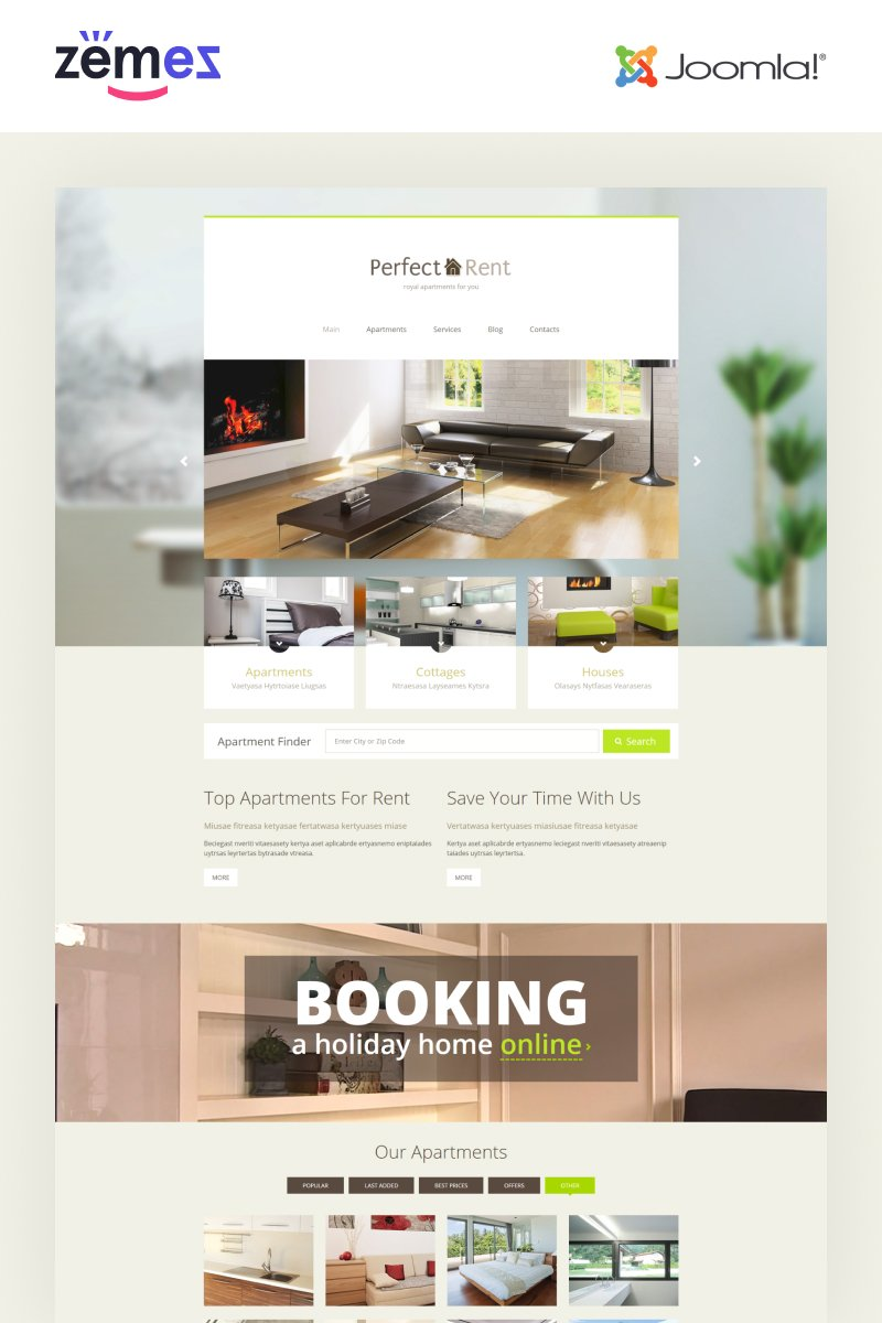 """Perfect Rent - Real Estate Multipage Modern"" Responsive Joomla Template №55203 - screenshot"