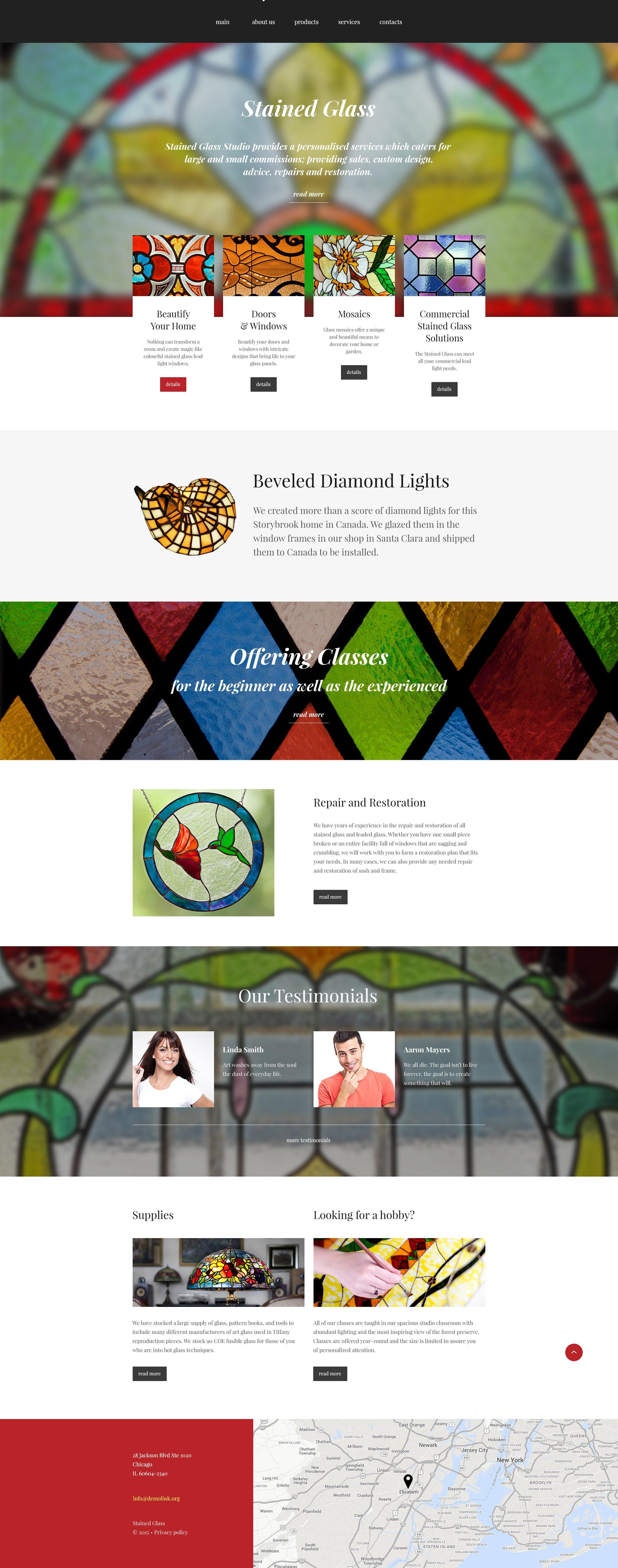 "Plantilla Web ""Stained Glass Studio"" #55294 - captura de pantalla"