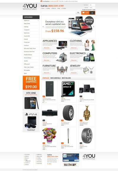 Адаптивный PrestaShop шаблон №55221 на тему оптовый магазин