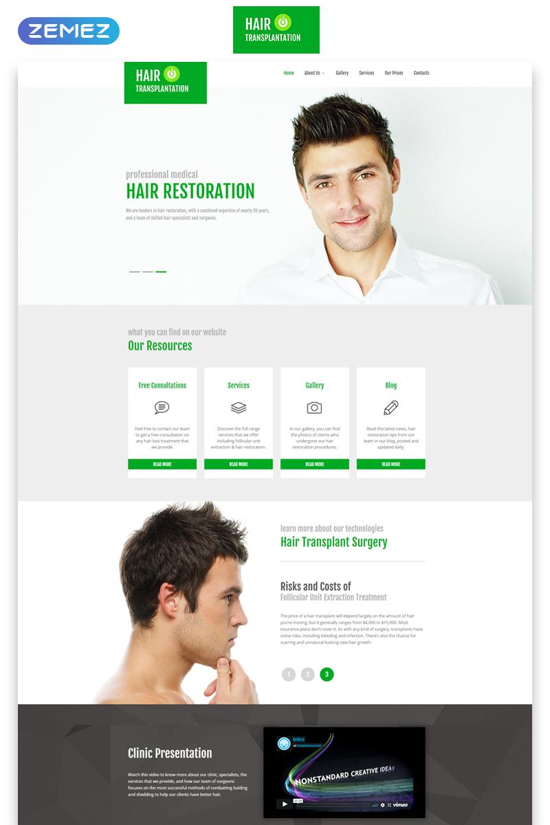 Responsive Hair Transplantation - Medical Clinic Clean Responsive HTML5 Web Sitesi #55241