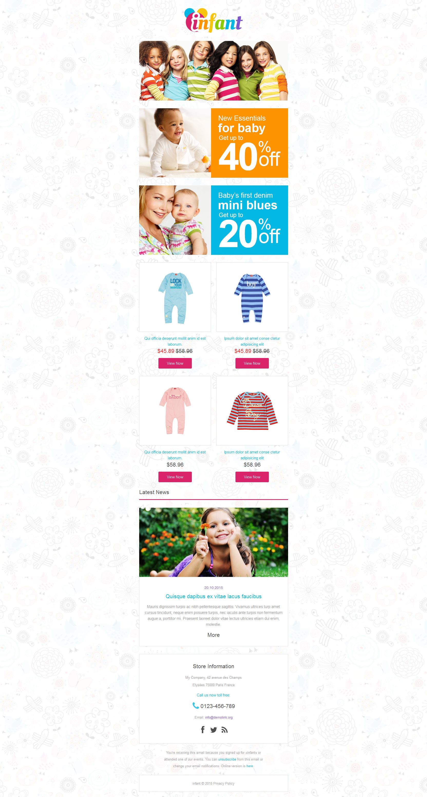Responsive Newsletter Vorlage für Babyshop #55289