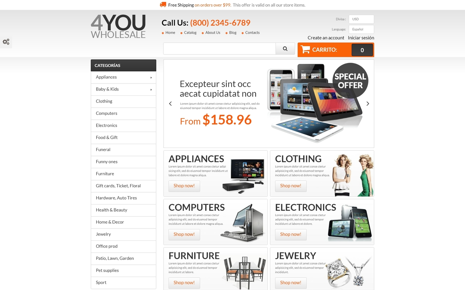 Responsivt 4You Wholesale PrestaShop-tema #55221