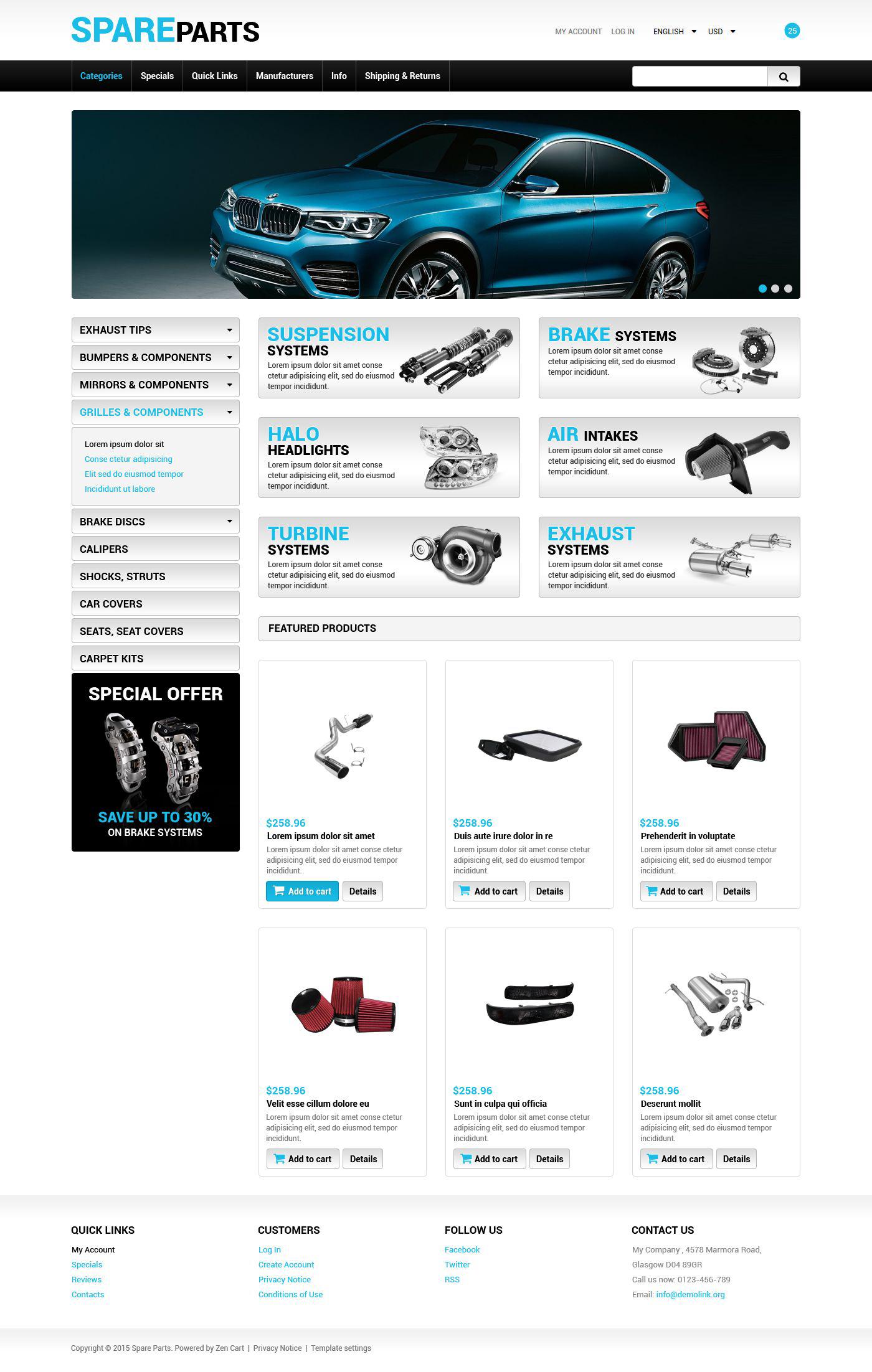 Responsywny szablon ZenCart Sklep części zapasowych #55219 - zrzut ekranu