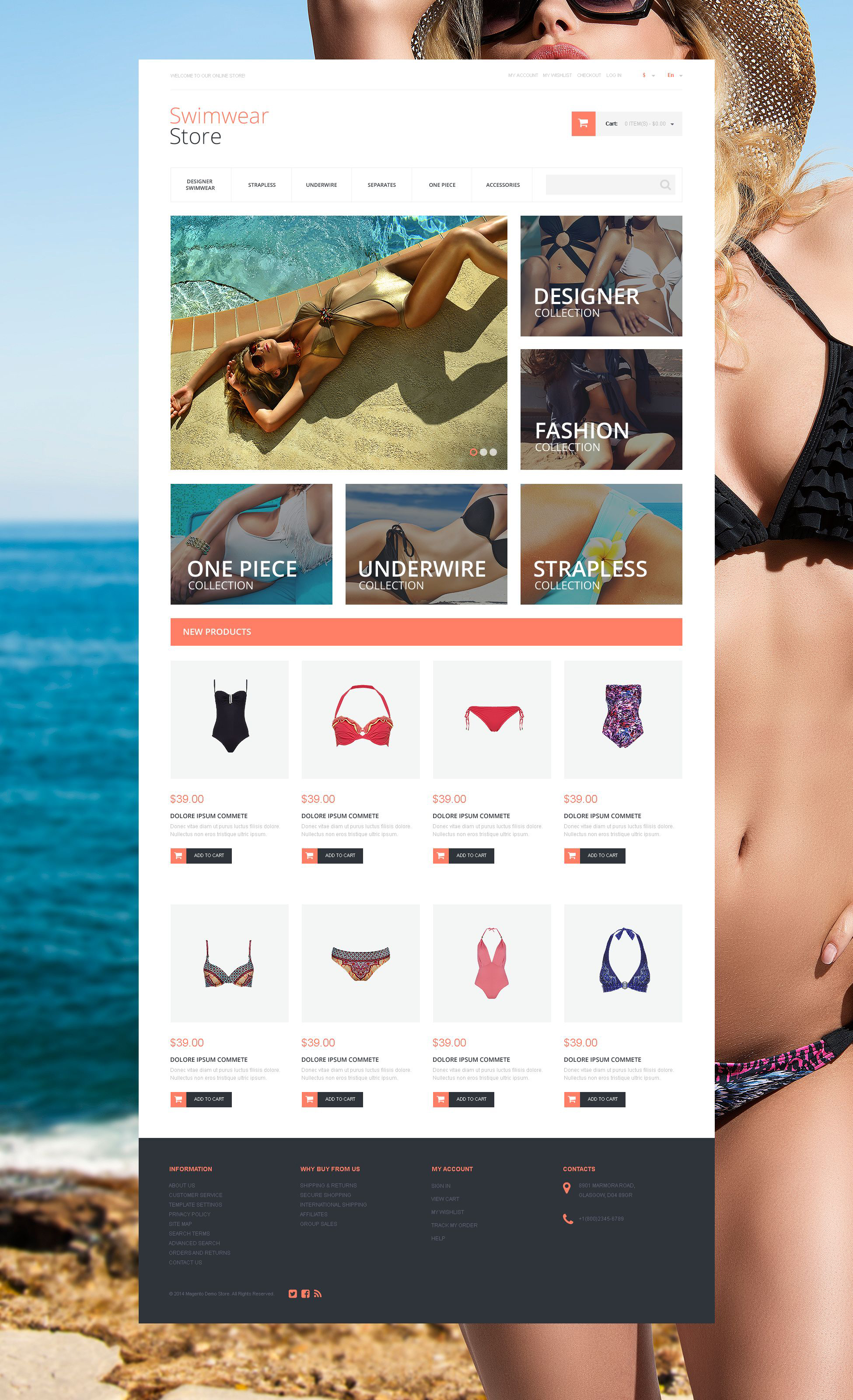 "Responzivní Magento motiv ""Gorgeous Swimwear"" #55259 - screenshot"