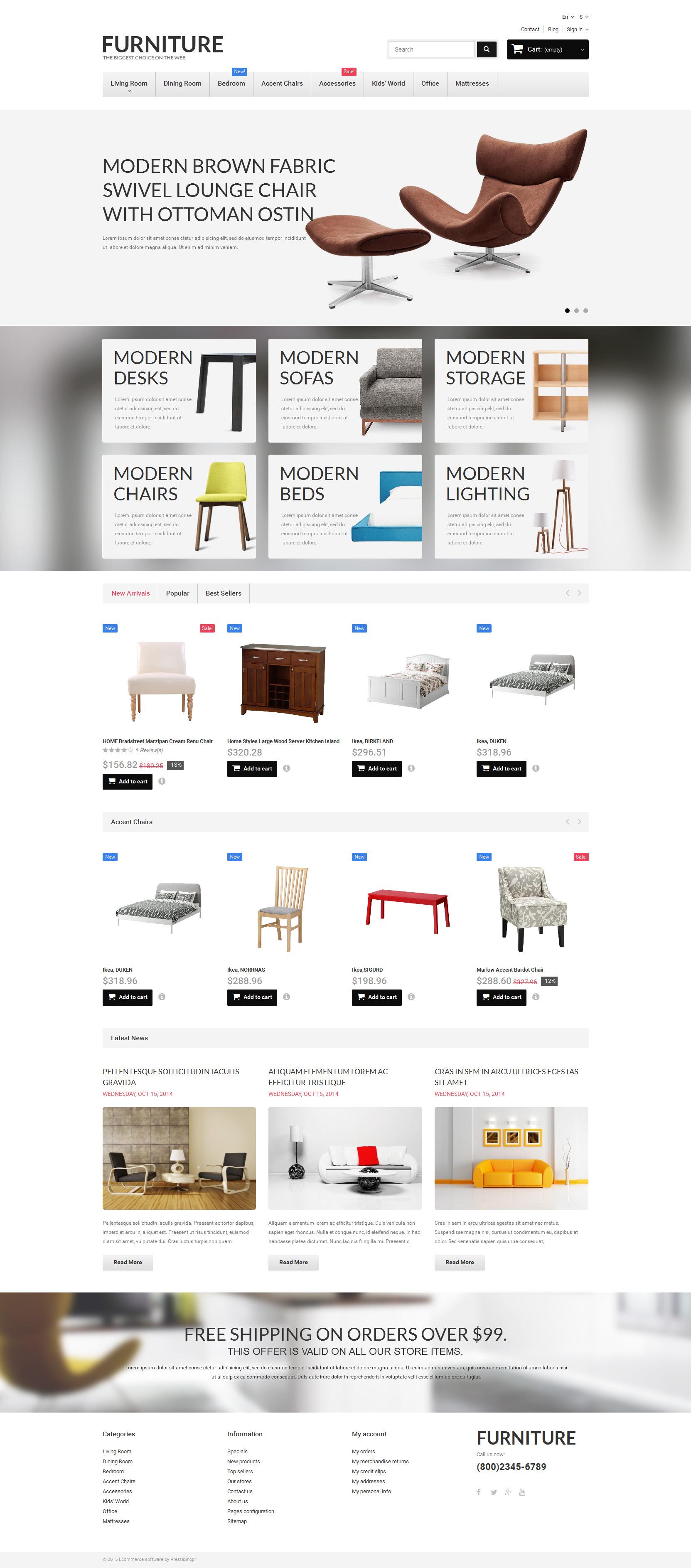 "Responzivní PrestaShop motiv ""Furniture"" #55268 - screenshot"
