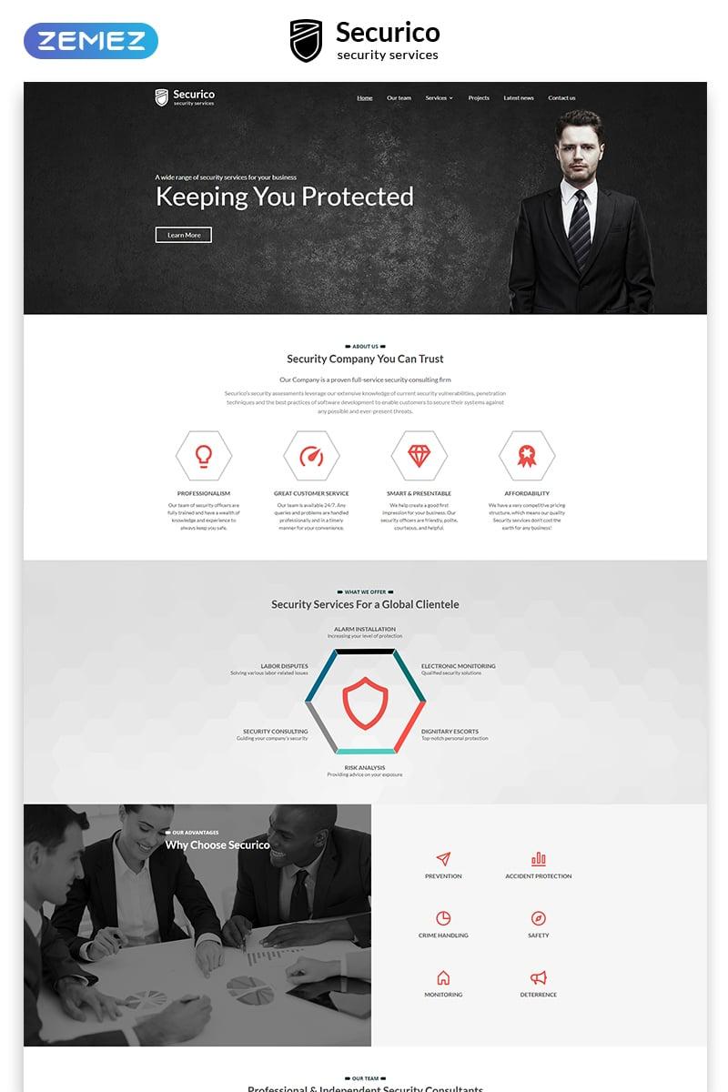 """Responzivní Šablona webových stránek """"Securico - Security Responsive Modern HTML"""" #55293"""