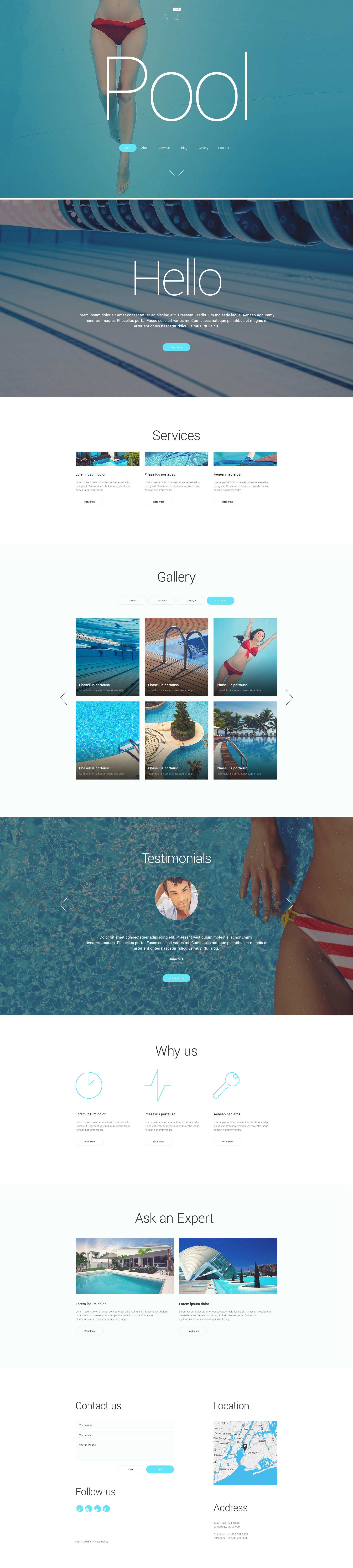 "Responzivní WordPress motiv ""Pool Cleaning"" #55279"