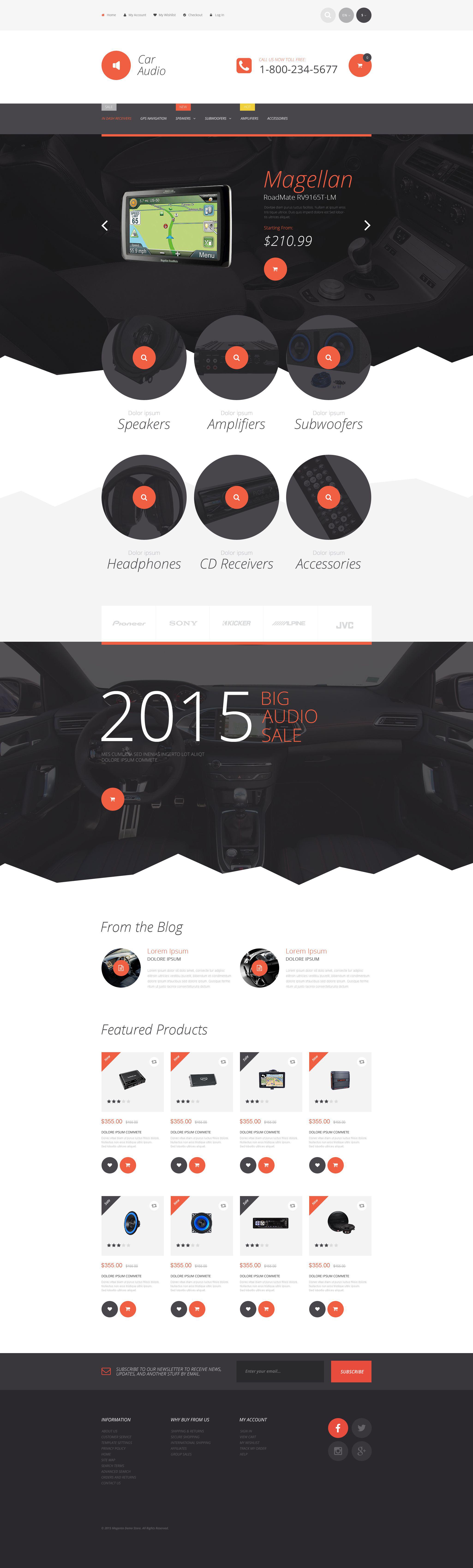 Reszponzív Car Stereo Magento sablon 55217