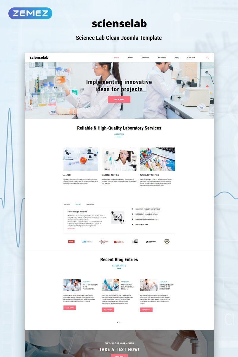 Scienselab - Science Lab Clean Joomla Template