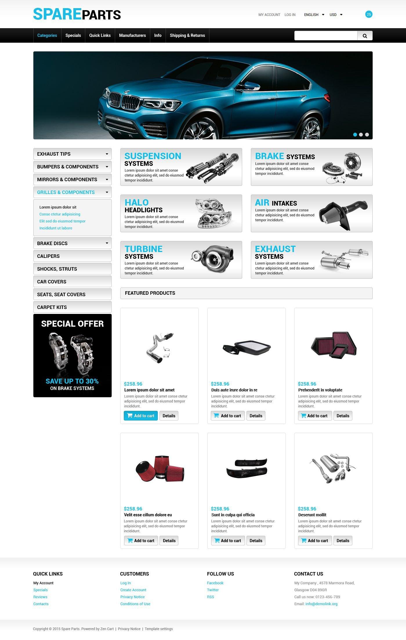 """""""Spare Parts"""" Responsive ZenCart template №55219"""