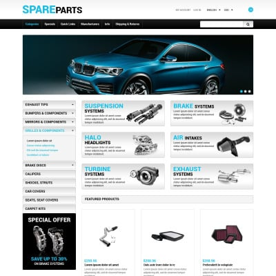 Spare Parts ZenCart Template #41808