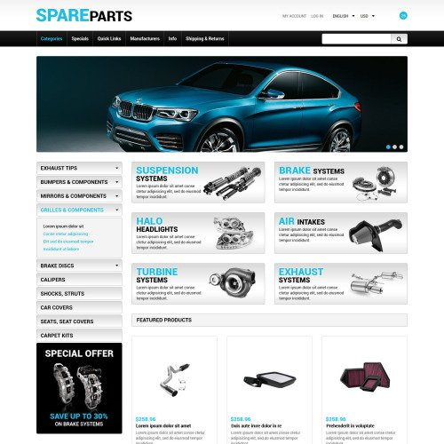 Spare Parts - ZenCart Template based on Bootstrap