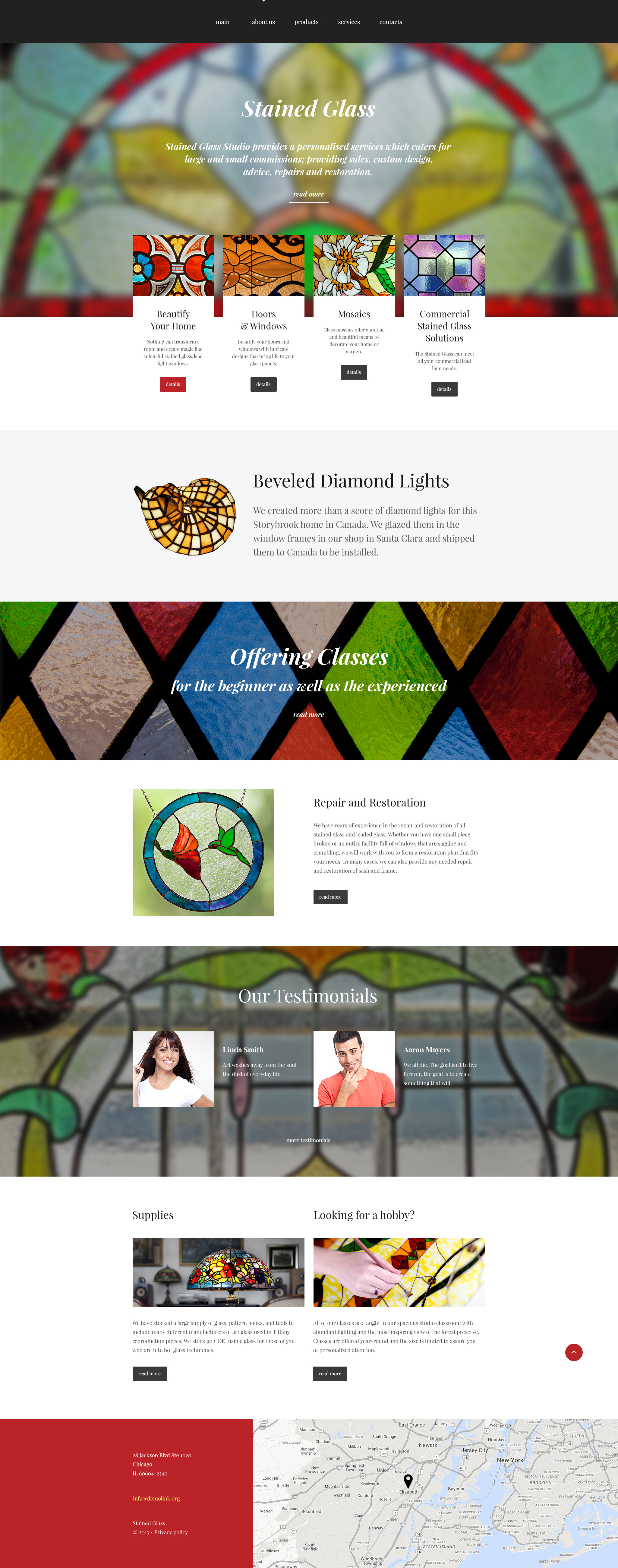 """Stained Glass Studio"" Responsive Website template №55294"