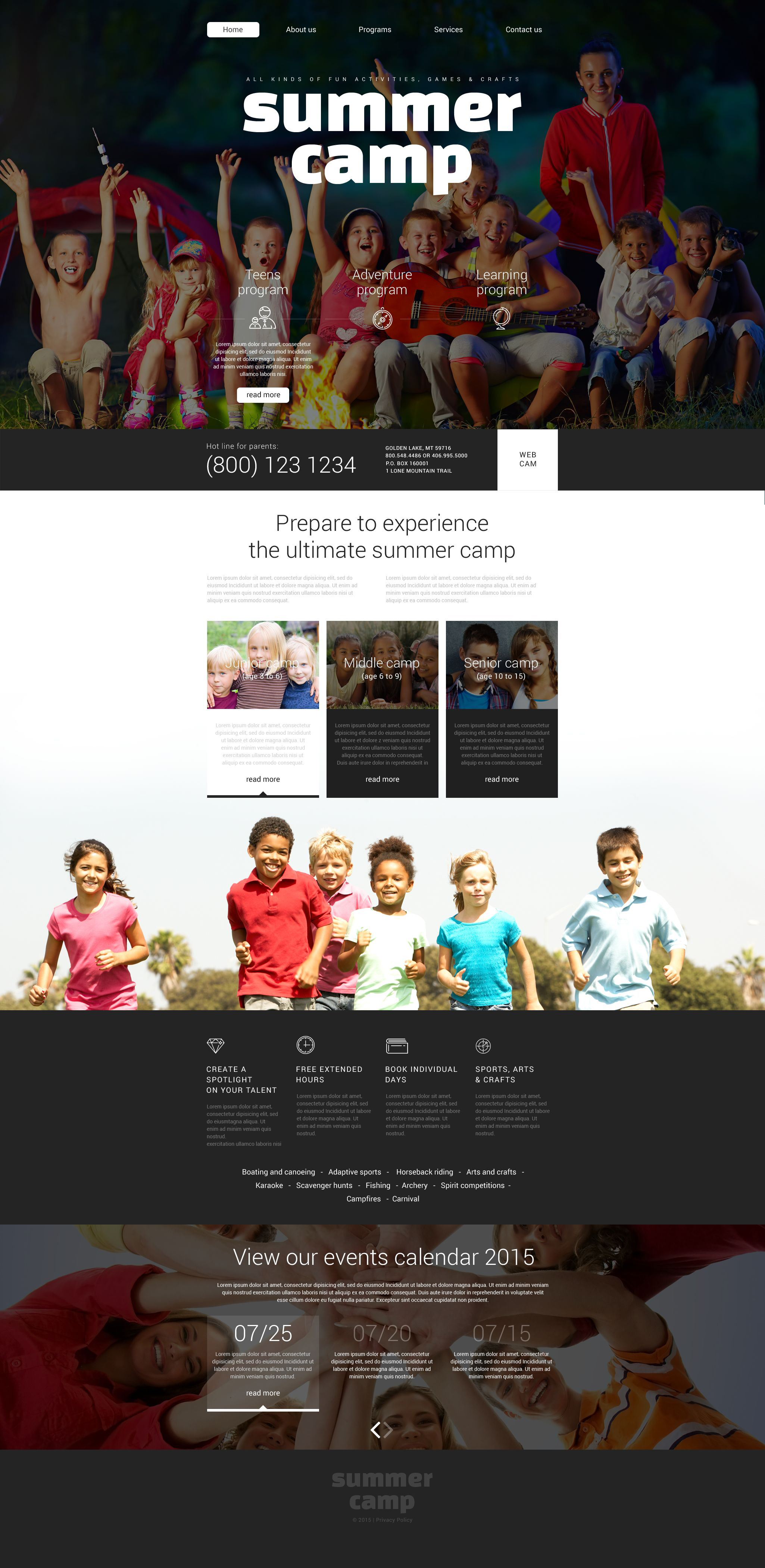 """Summer Camp"" Responsive Website template №55235 - screenshot"