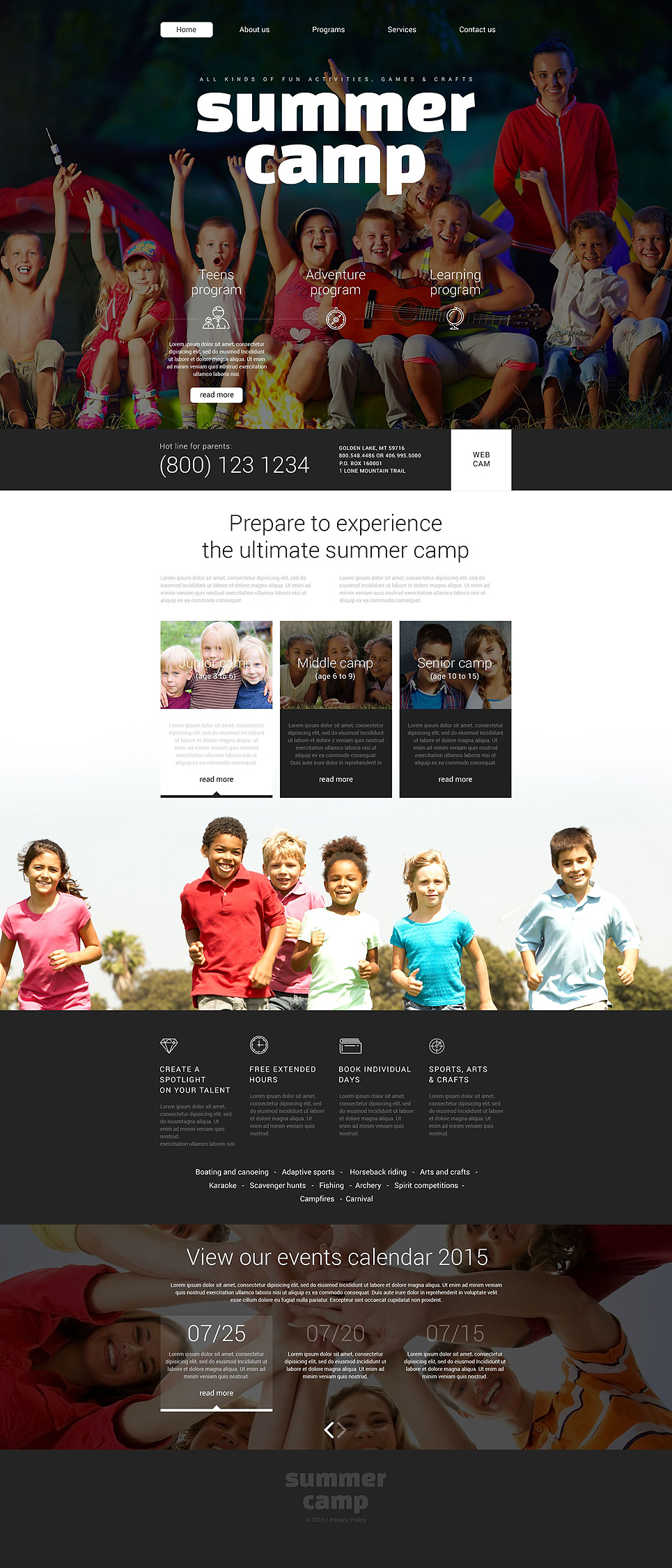 summer camp web template