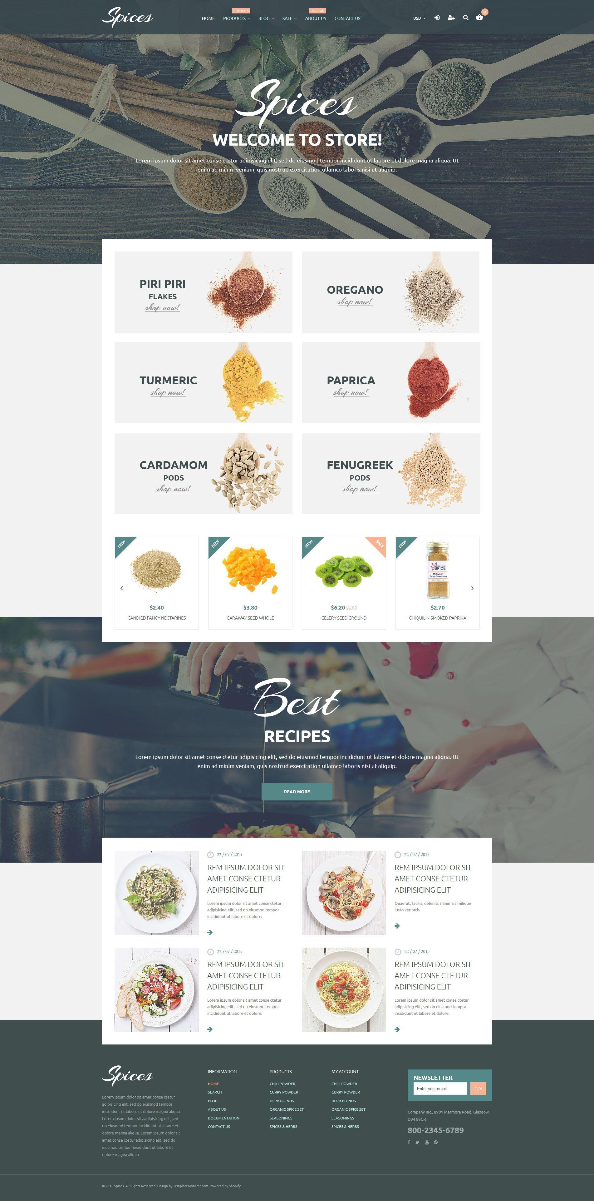 Tema de Shopify Flexível para Sites de Loja de especiarias №55213
