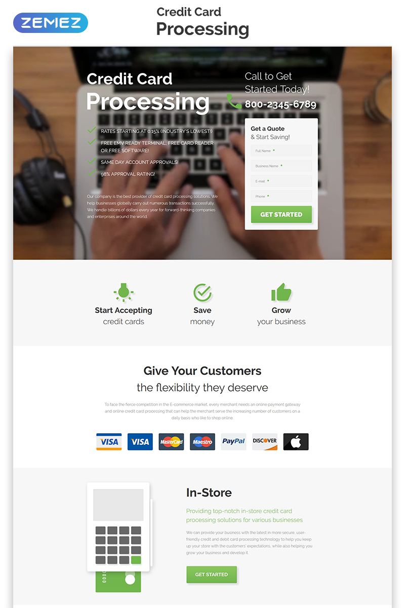 "Tema di Landing Page Responsive #55254 ""Credit Card Processing - Merchant Services Creative HTML"" - screenshot"
