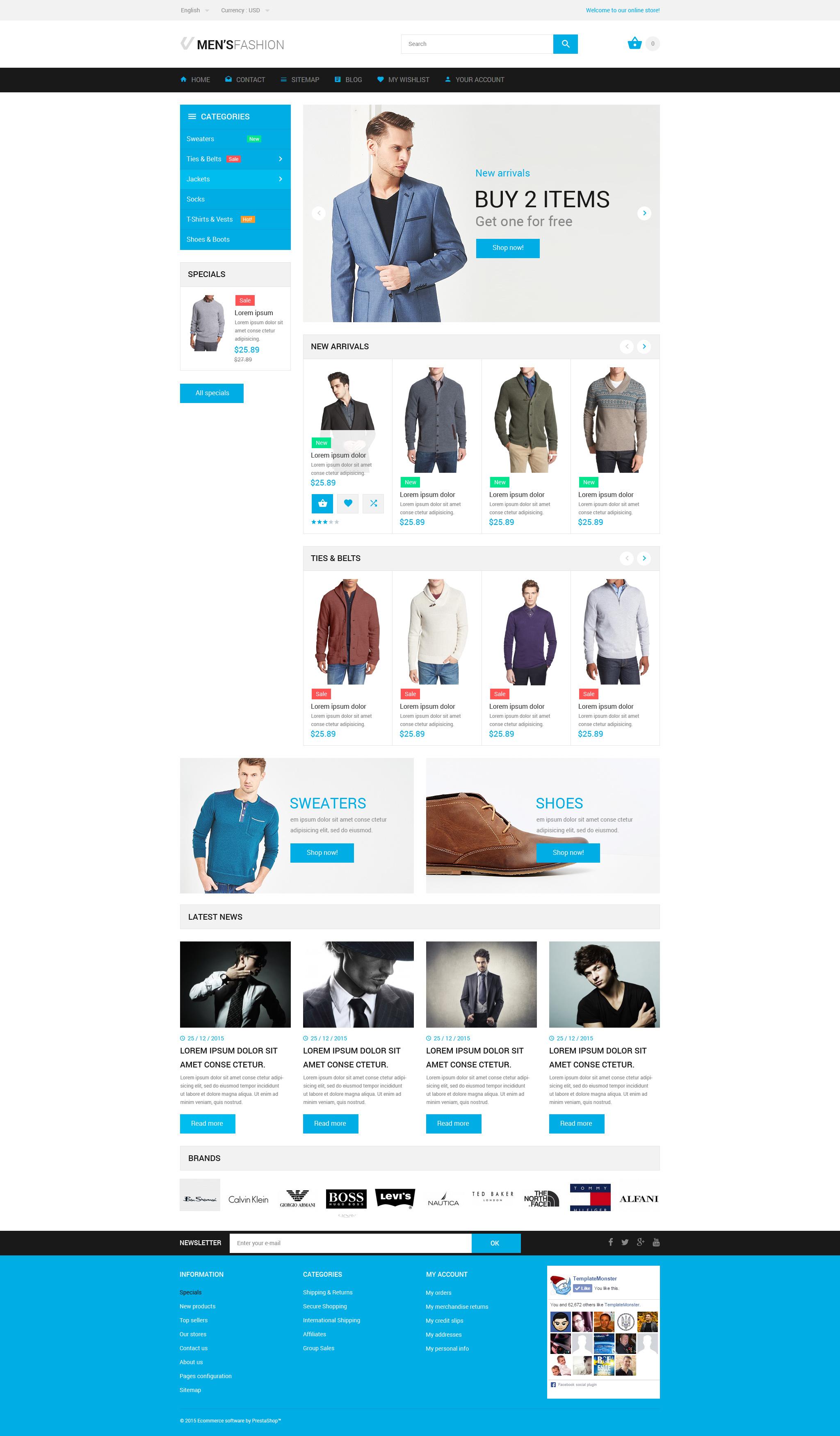 """Tema PrestaShop Responsive #55281 """"Negozio di Abbigliamento"""" - screenshot"""