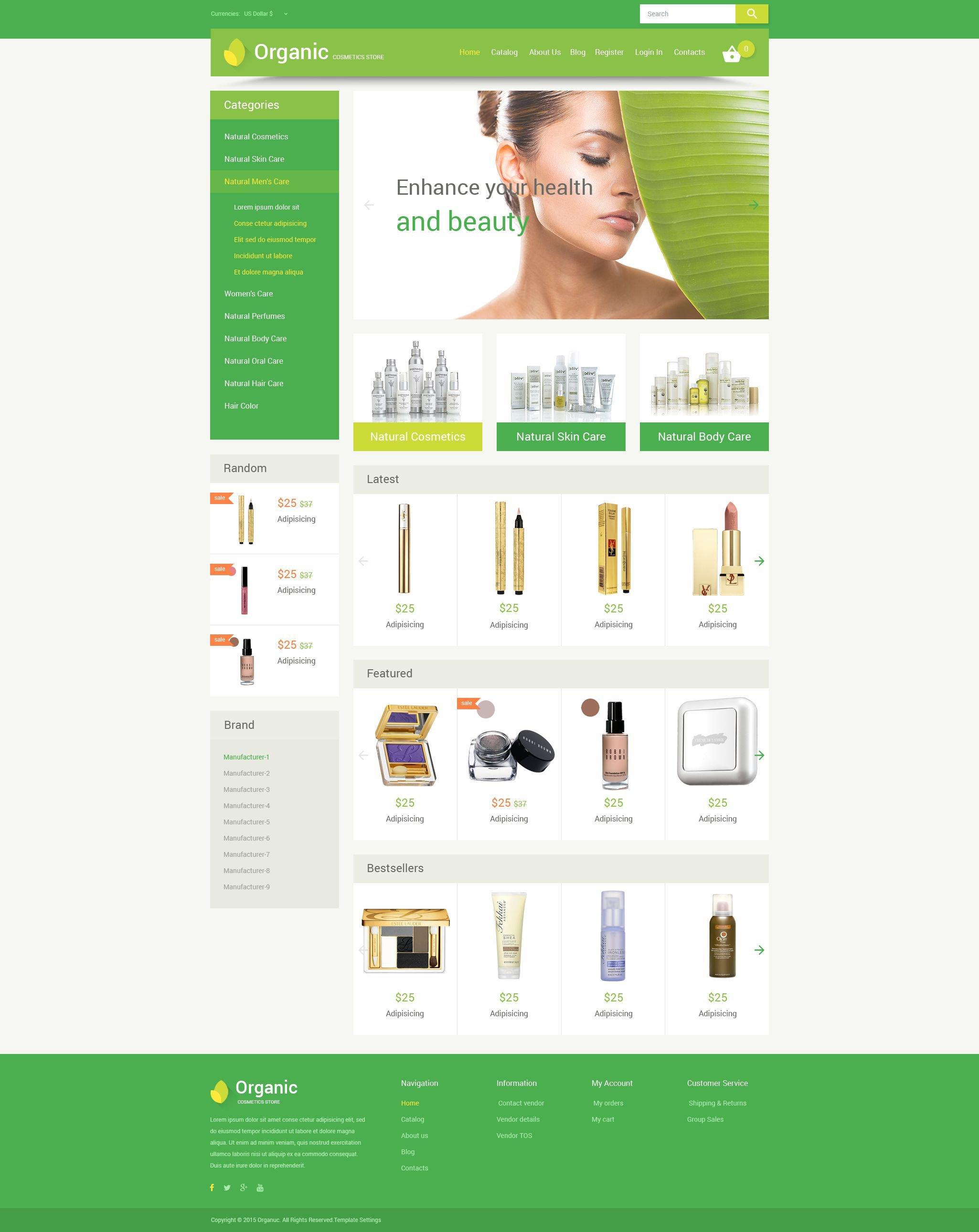 Template VirtueMart para Sites de Loja de Cosmédicos №55215