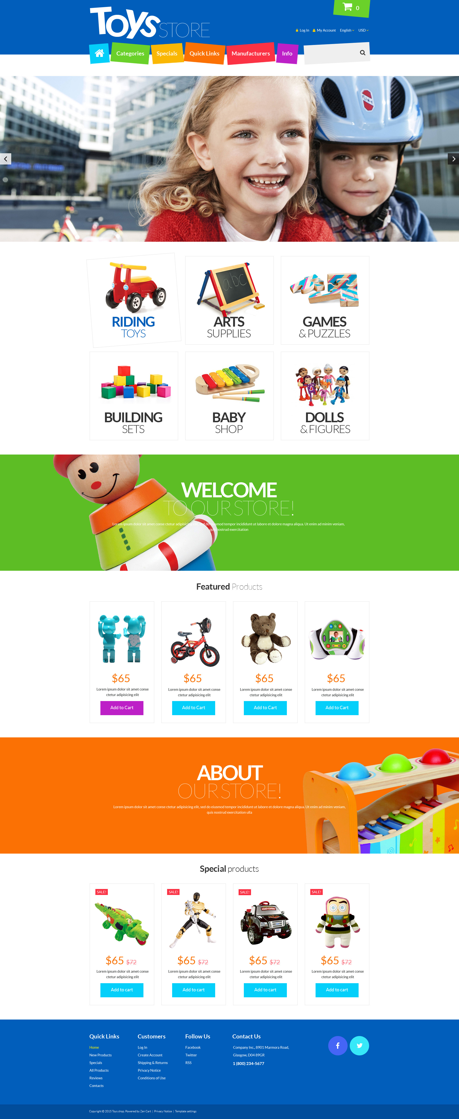 "Template ZenCart Responsive #55288 ""Toys Store"""