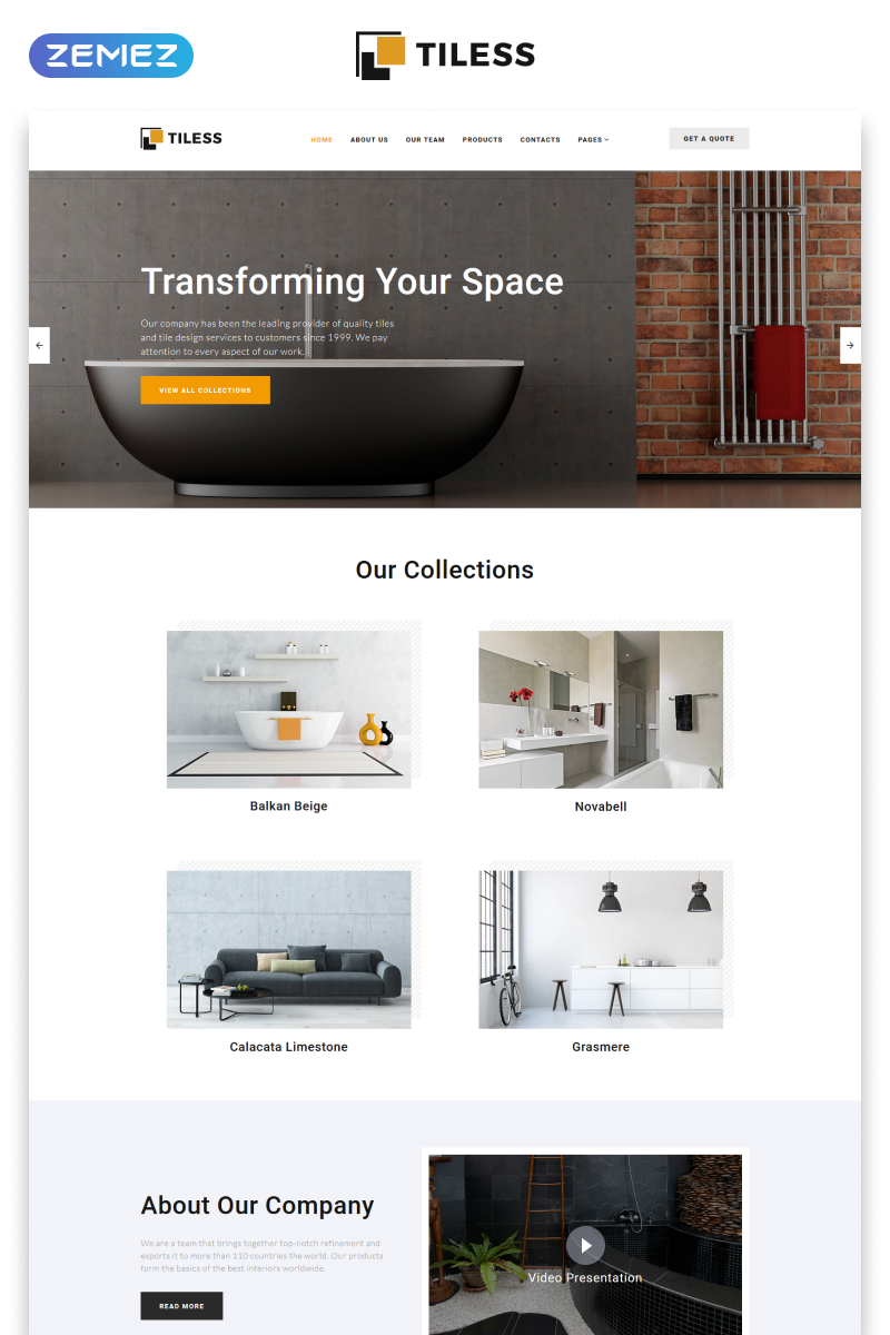 """Tiless - Home Decor Multipage Creative HTML"" Responsive Website template №55295 - screenshot"