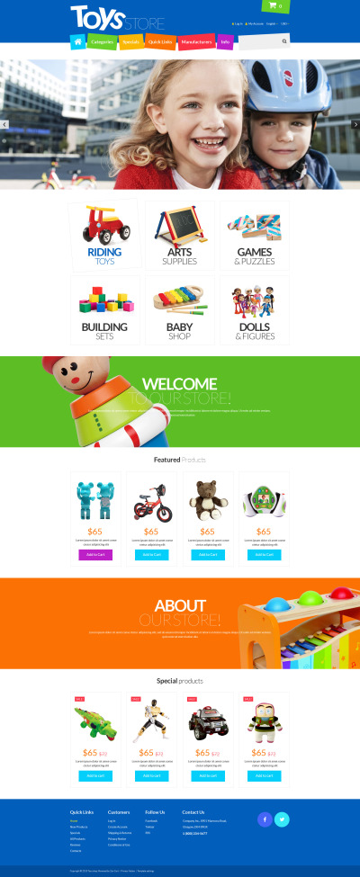 Toys Store ZenCart Template #55288