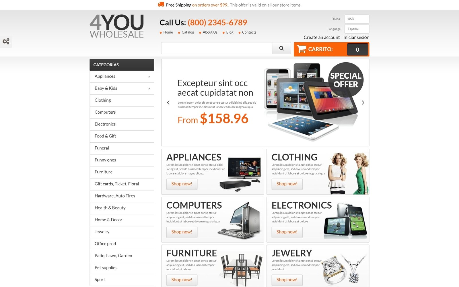 """4You Wholesale"" 响应式PrestaShop模板 #55221"