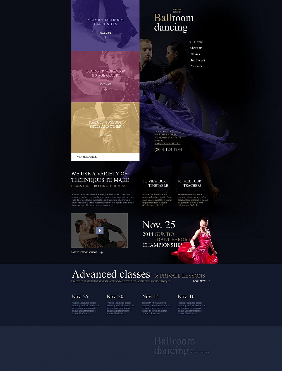 Dancing classes site design