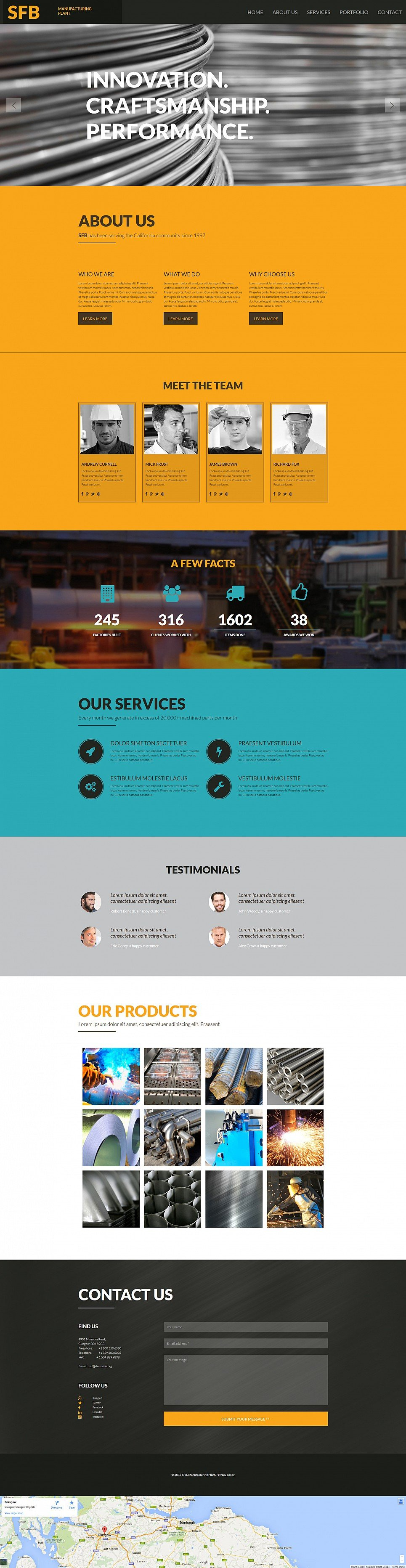 Fast working template for industry site