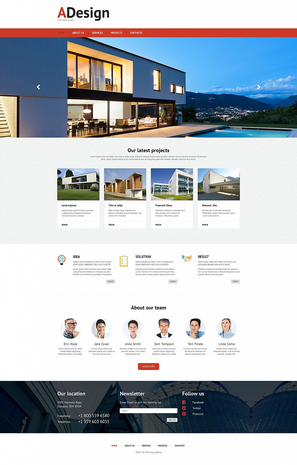 Responsive web template for architects