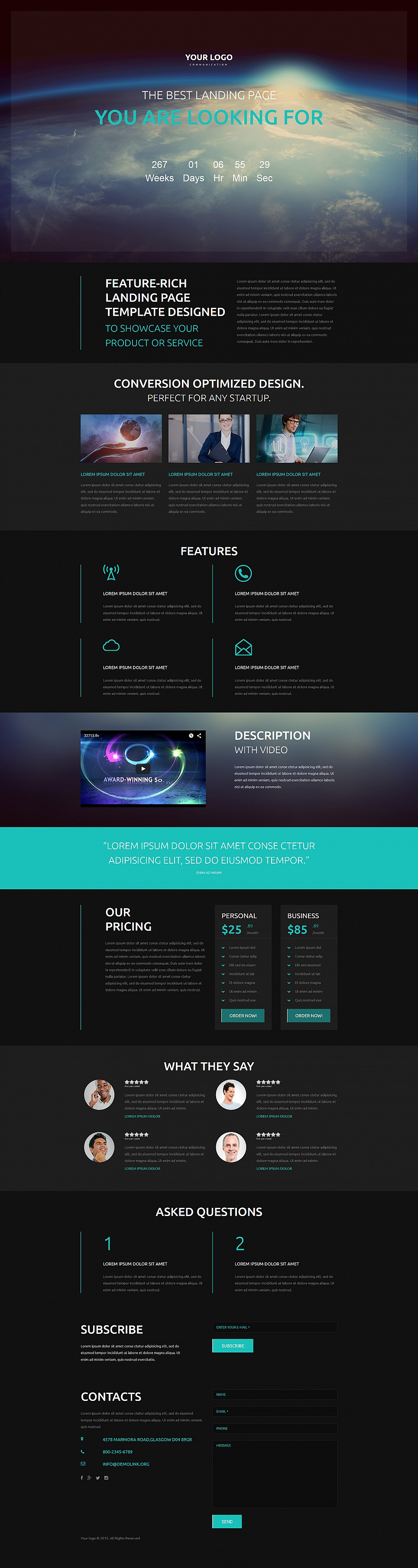 Cosmic website template for businessmen