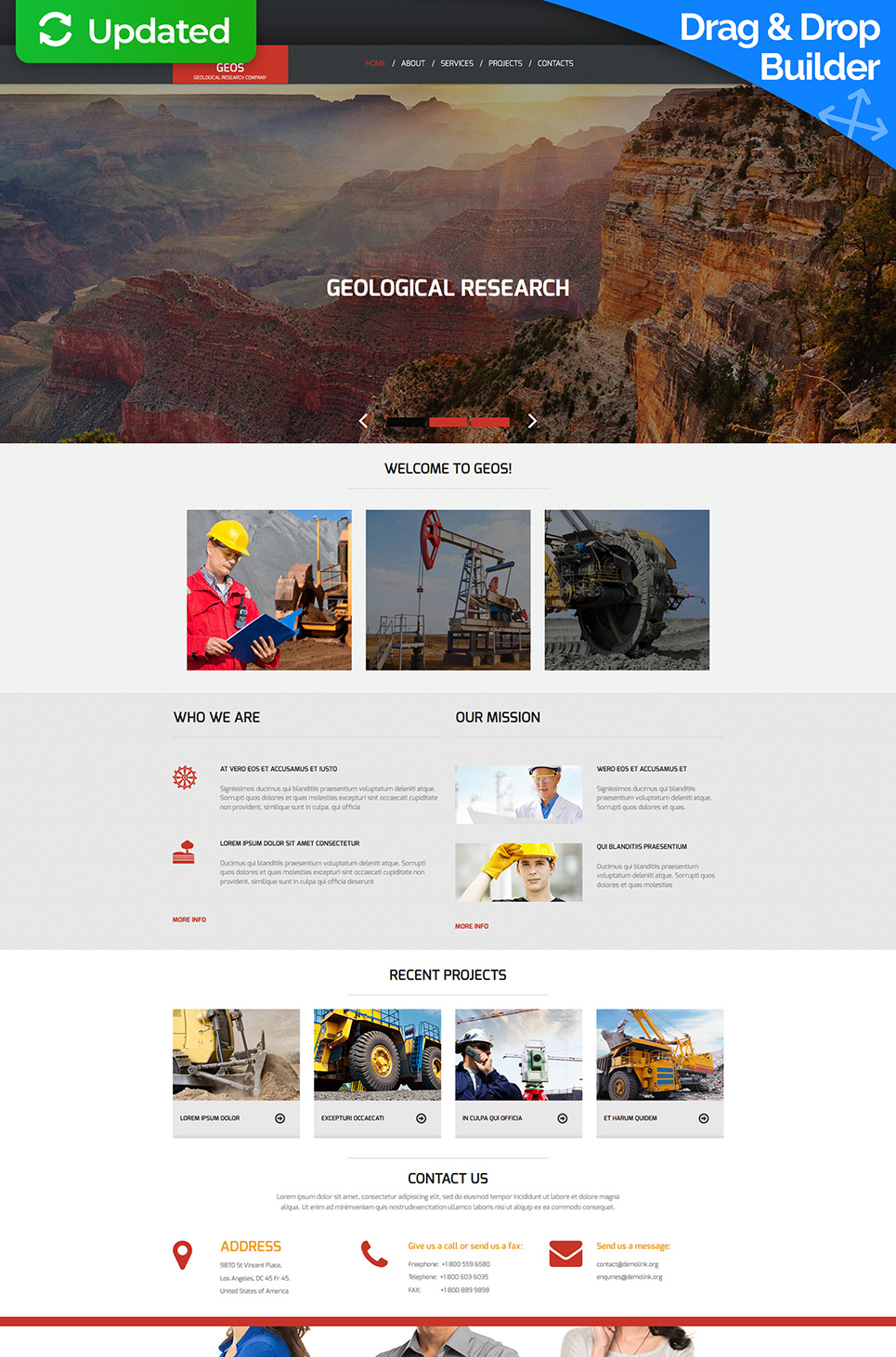 Web theme for mineral production company