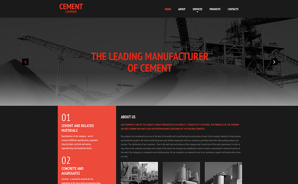 Responsive Çimento  Moto Cms 3 Şablon New Screenshots BIG